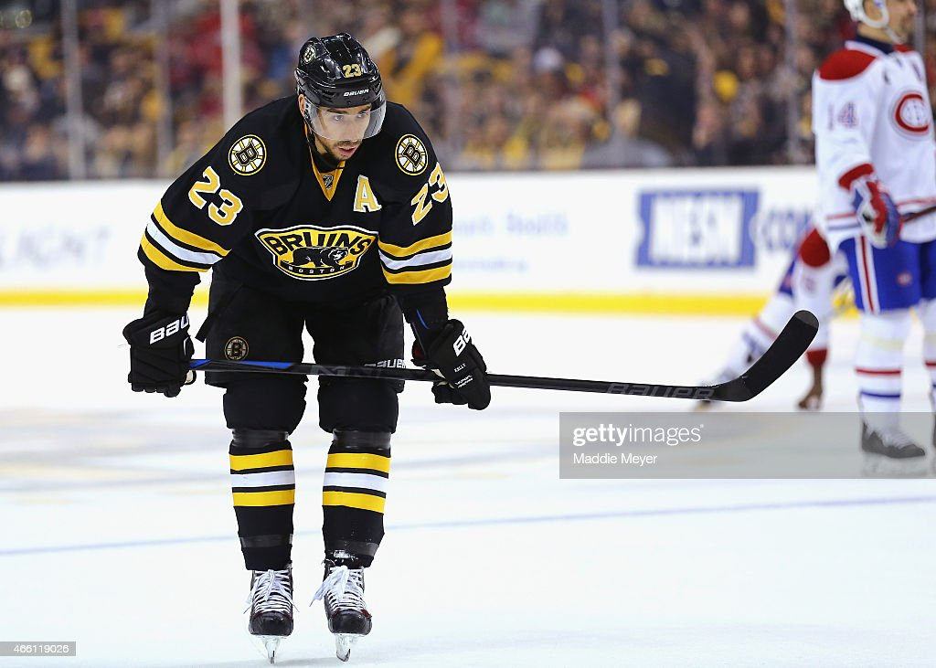 Chris Kelly #23 of the Boston Bruins looks on during the second period against the Montreal Canadiens at TD Garden on February 8, 2015 in Boston, Massachusetts.