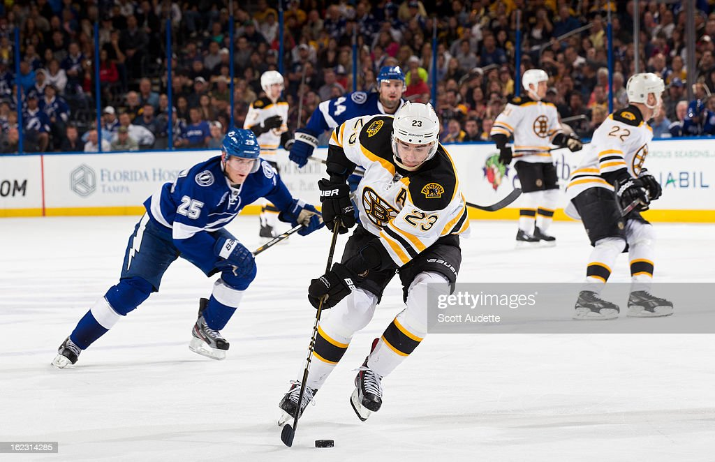 Chris Kelly #23 of the Boston Bruins moves the puck down ice during the game against the Tampa Bay Lightning at the Tampa Bay Times Forum on February 21, 2013 in Tampa, Florida.