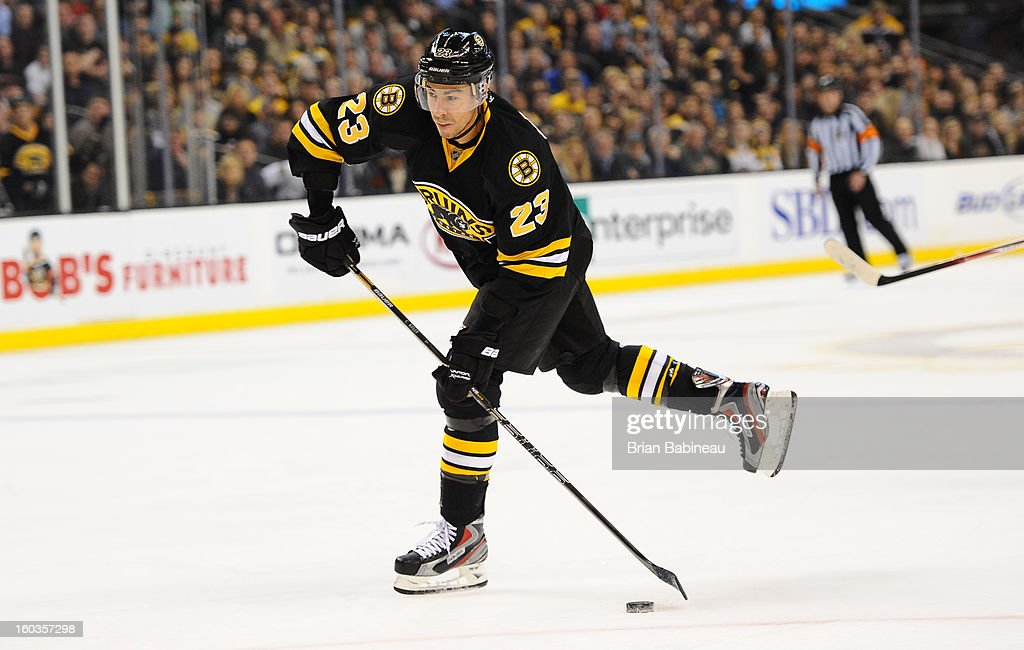 Chris Kelly #23 of the Boston Bruins shoots the puck against the New Jersey Devils at the TD Garden on January 29, 2013 in Boston, Massachusetts.