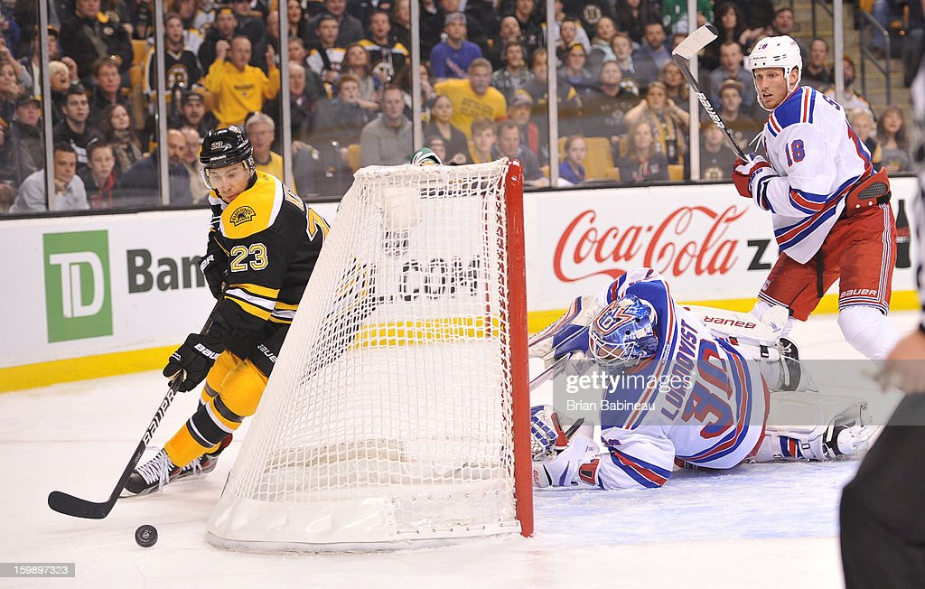 Chris Kelly #23 of the Boston Bruins skates around the net with the puck against Henrik Lundqvist #30 of the New York Rangers at the TD Garden on January 19, 2013 in Boston, Massachusetts.