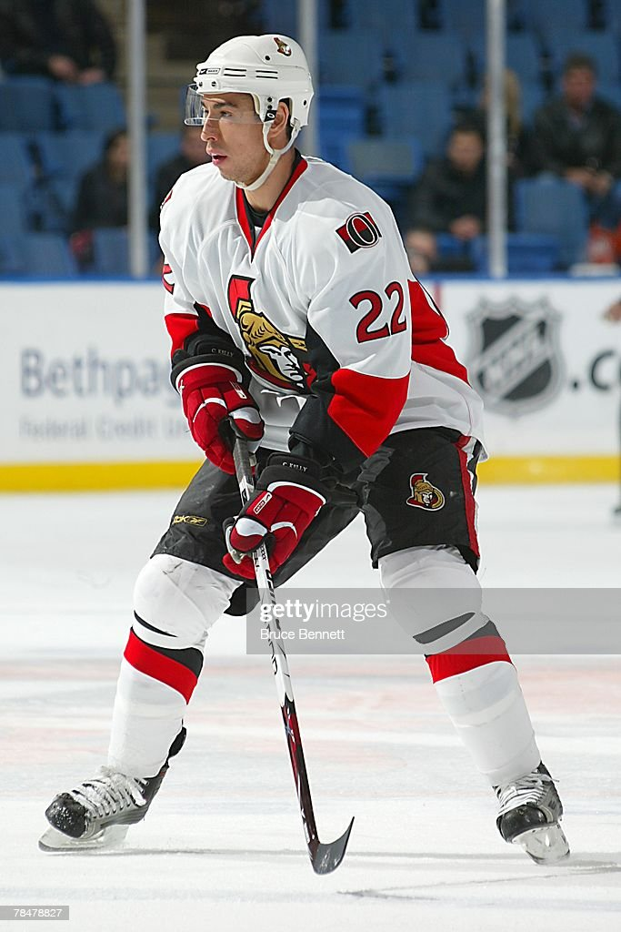 Chris Kelly of the Ottawa Senators butterflies the ice during the NHL game against the New York Islanders at the Nassau Coliseum on November 28 2007...