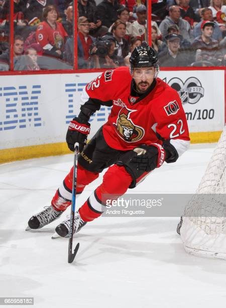Chris Kelly of the Ottawa Senators skates against the Detroit Red Wings at Canadian Tire Centre on April 4 2017 in Ottawa Ontario Canada