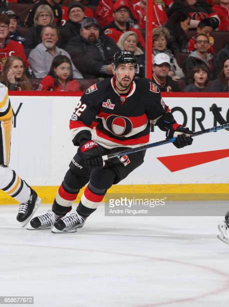 Chris Kelly of the Ottawa Senators skates against the Pittsburgh Penguins at Canadian Tire Centre on March 23 2017 in Ottawa Ontario Canada