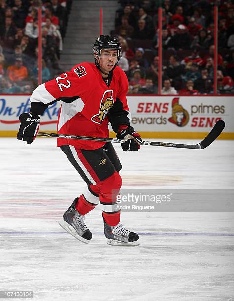Chris Kelly of the Ottawa Senators skates against the San Jose Sharks at Scotiabank Place on December 2 2010 in Ottawa Ontario Canada