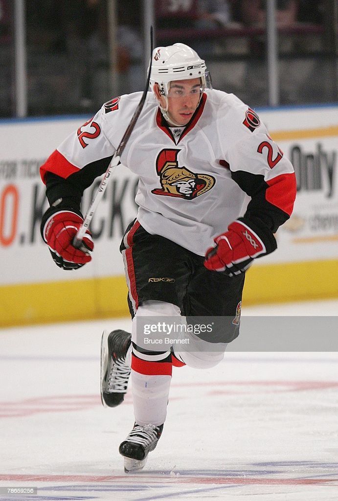 Chris Kelly of the Ottawa Senators skates on the ice against the New York Rangers on December 23 2007 at Madison Square Garden in New York New York