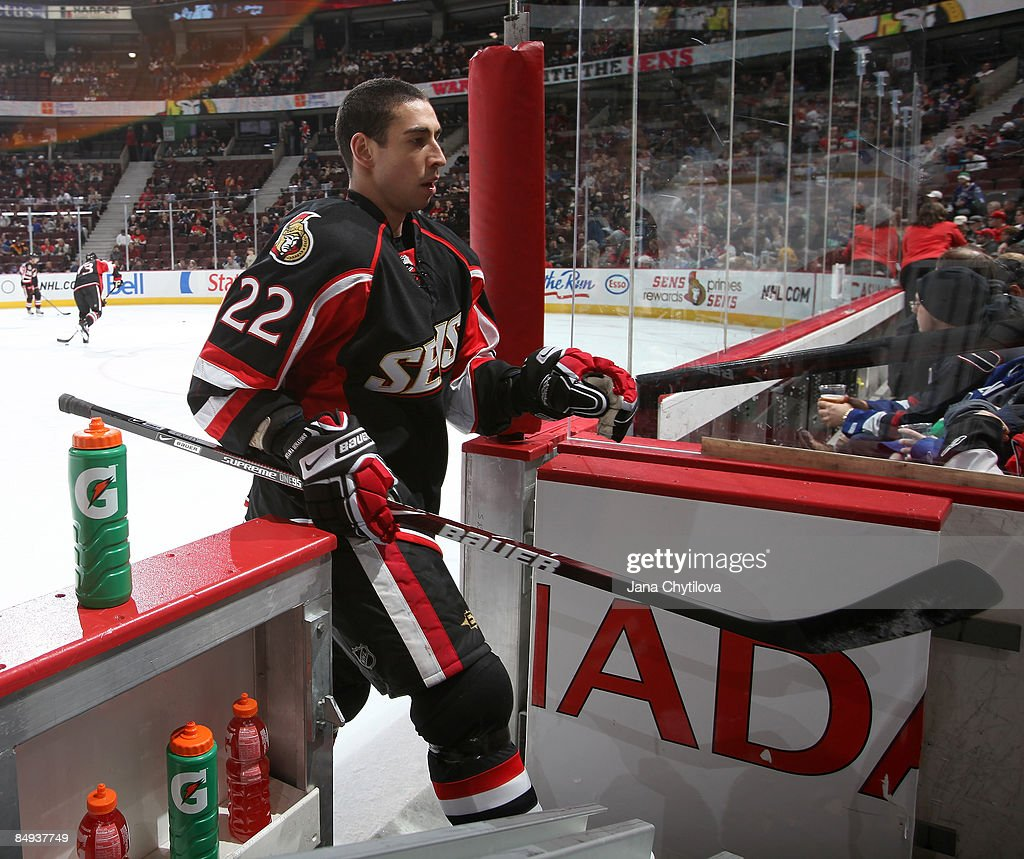 Chris Kelly of the Ottawa Senators steps off the ice prior to his 300th NHL career game at Scotiabank Place on Feburary 19 2009 in Ottawa Ontario...