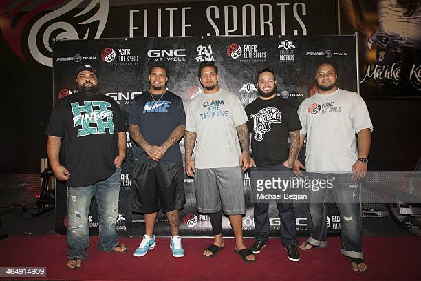 Chris Kemoeatu Mike Pouncey Maurkice Pouncey Ray Maualuga and Maake Kemoeatu attend the Pacific Elite Sports Fitness Center Grand Opening on January...