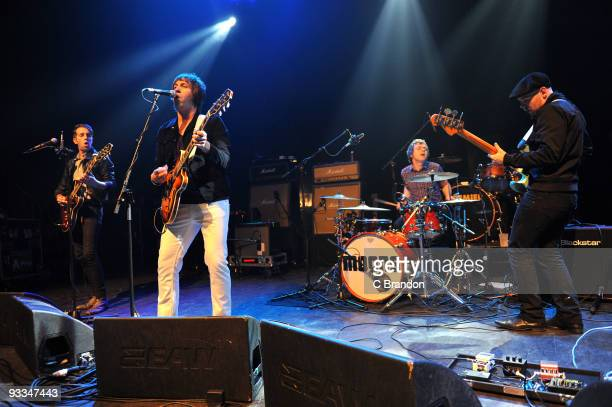 Chris Ketley Andy Crofts Ben Gordeller and Adam Leeds of The Moons performs on stage at Shepherds Bush Empire on November 21 2009 in London England