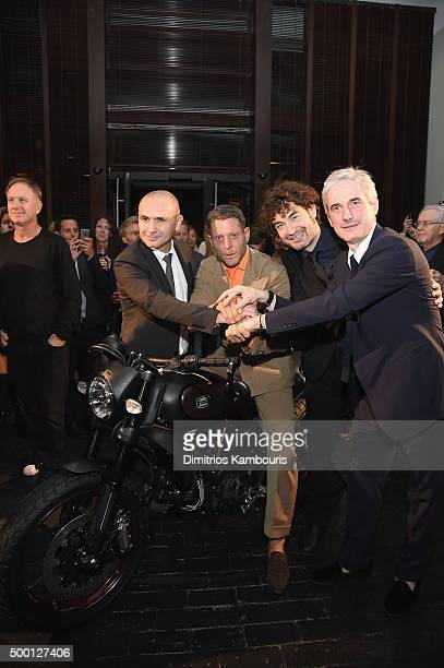 Chris King Lapo Elkann Alessandro Cicogiani and Andrea Tessitore CEO of Italia Independent attend the Italia Independent X Ducati Celebration of The...