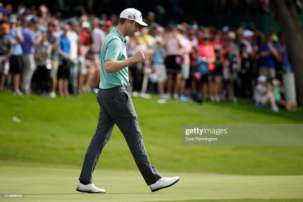 Chris Kirk celebrates on the 18th green during the final round of the Crowne Plaza Invitational at the Colonial Country Club on May 24, 2015 in Fort Worth, Texas.