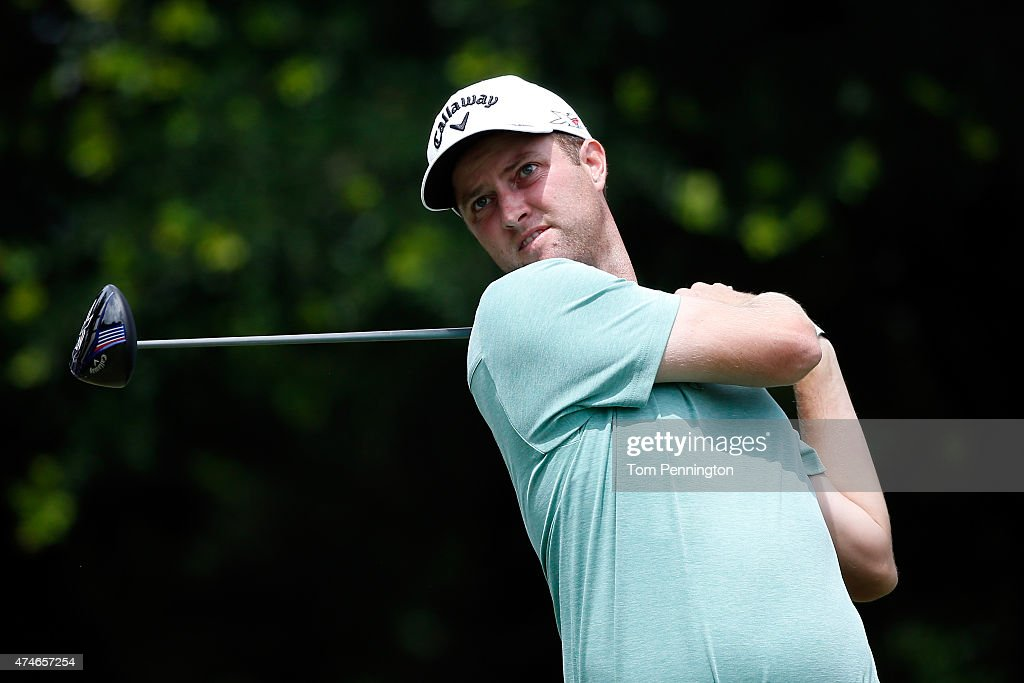 Chris Kirk hits a shot on the 12th tee during the final round of the Crowne Plaza Invitational at the Colonial Country Club on May 24 2015 in Fort...