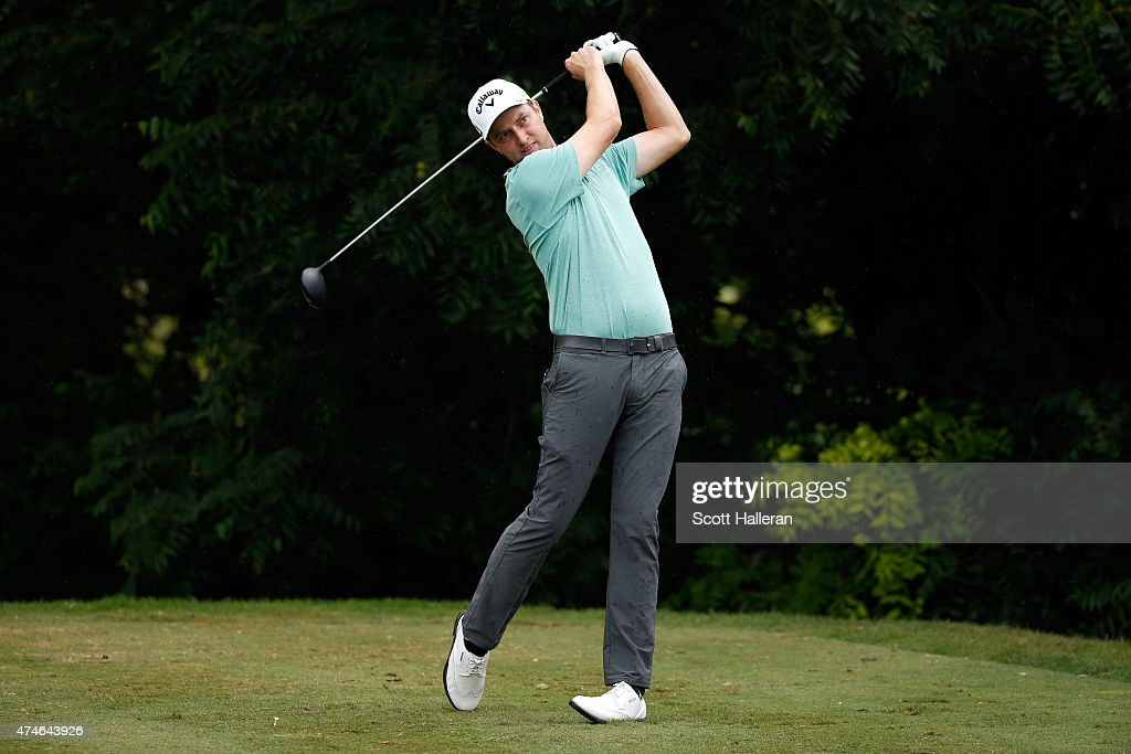 Chris Kirk hits a shot on the 6th hole during the final round of the Crowne Plaza Invitational at the Colonial Country Club on May 24 2015 in Fort...