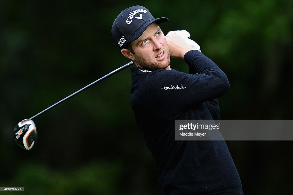 Chris Kirk hits a tee shot on the 5th hole during the first round of the RBC Heritage at Harbour Town Golf Links on April 17 2014 in Hilton Head...