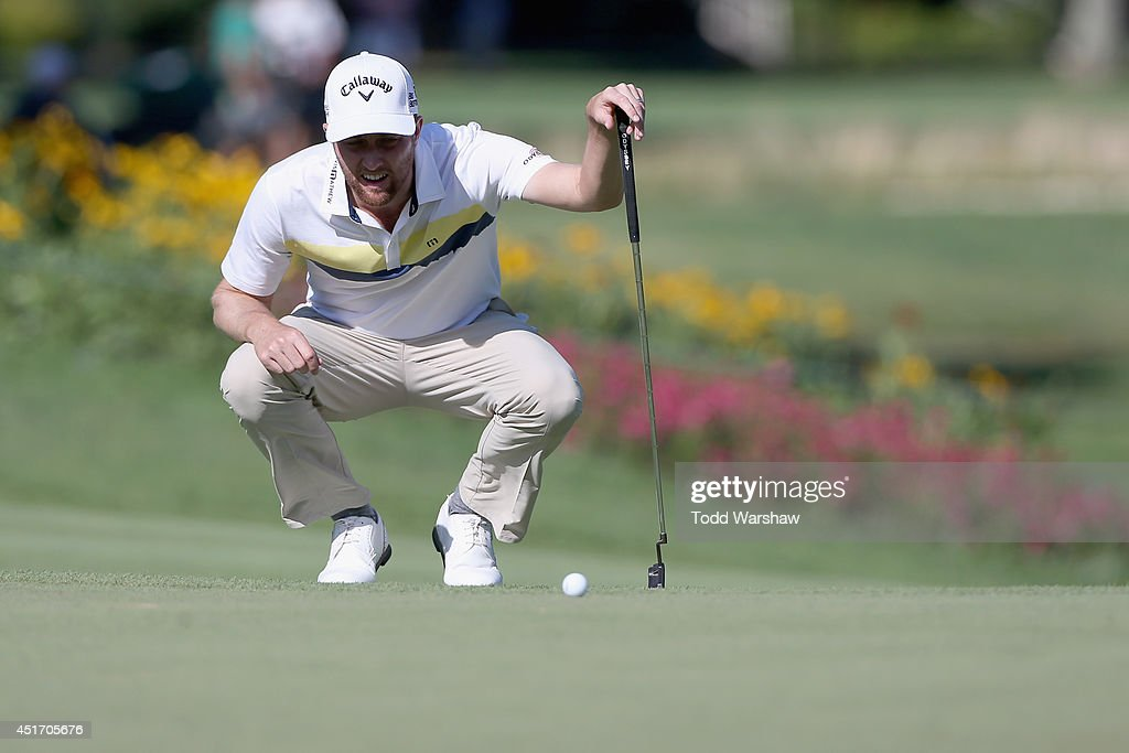 Chris Kirk lines up a putt on the 8th green during the second round of the Greenbrier Classic at the Old White TPC on July 4, 2014 in White Sulphur Springs, West Virginia.