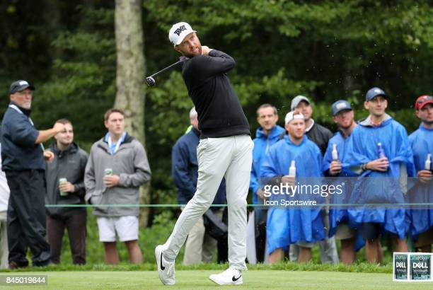 Chris Kirk of the United States hits from the 8th tee during the third round of the Dell Technologies Championship on September 3 at TPC Boston in...