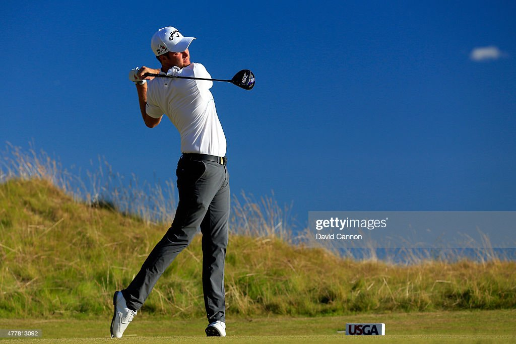 Chris Kirk of the United States hits his tee shot on the 14th hole during the second round of the 115th US Open Championship at Chambers Bay on June...