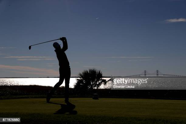 Chris Kirk of the United States plays his shot from the 14th tee during the final round of The RSM Classic at Sea Island Golf Club Seaside Course on...