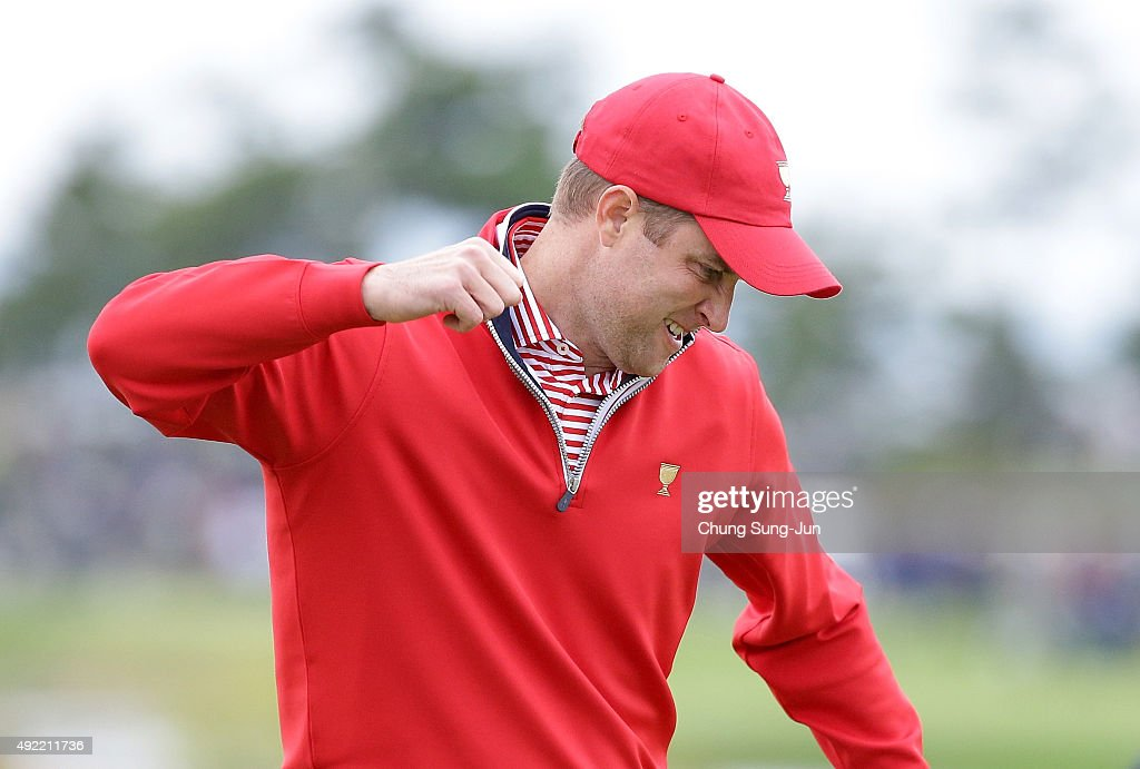 Chris Kirk of the United States Team celebrates after a putt on the 18th hole during the Sunday singles matches at The Presidents Cup at Jack...