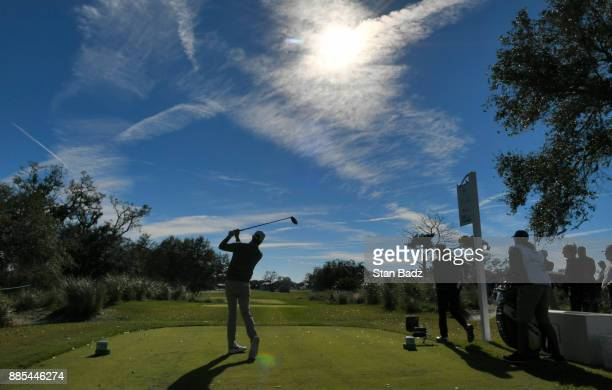 Chris Kirk plays a shot on the ninth hole during the final round of The RSM Classic at the Sea Island Resort Seaside Course on November 19 2017 in...