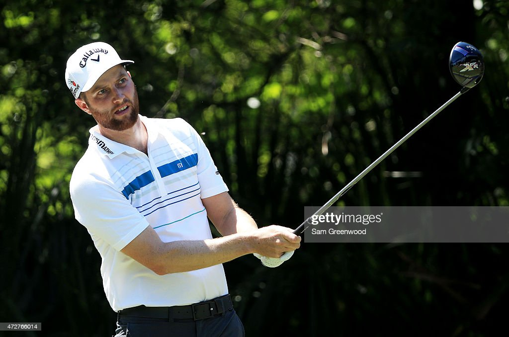 Chris Kirk plays his shot from the fifth tee during round three of THE PLAYERS Championship at the TPC Sawgrass Stadium course on May 9 2015 in Ponte...