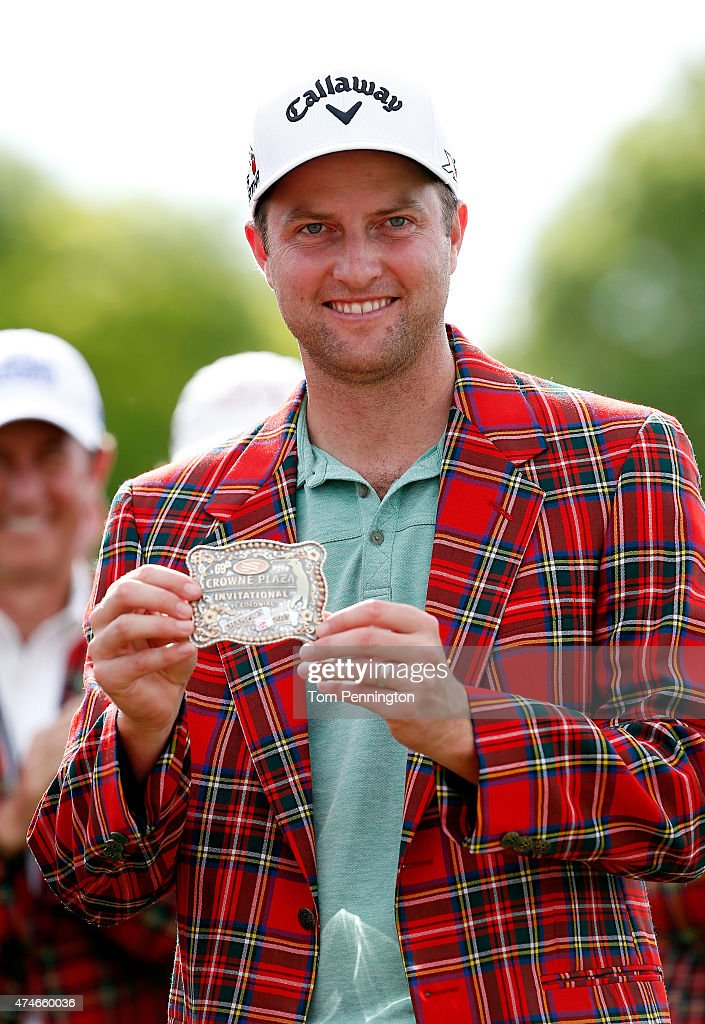Chris Kirk poses after winning during the final round of the Crowne Plaza Invitational at the Colonial Country Club on May 24 2015 in Fort Worth Texas