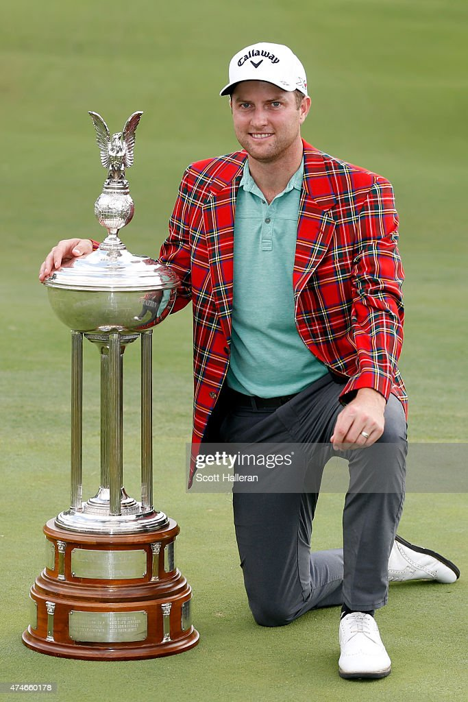 Chris Kirk poses with the Leonard trophy after winning during the final round of the Crowne Plaza Invitational at the Colonial Country Club on May 24, 2015 in Fort Worth, Texas.