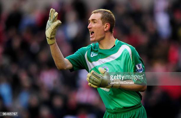 Chris Kirkland of Wigan in action during the Barclays Premier League match between Sunderland and Wigan Athletic at the Stadium of Light on February...