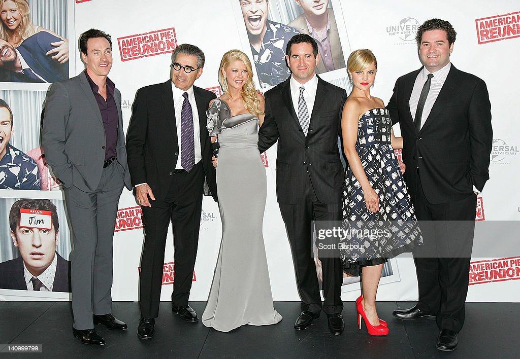 Chris Klein, Eugene Levy, Tara Reid, Hayden Schlossberg, Mena Suvari and Jon Hurwitz arrive at the Australian premiere of 'American Pie: Reunion' on March 7, 2012 in Melbourne, Australia.