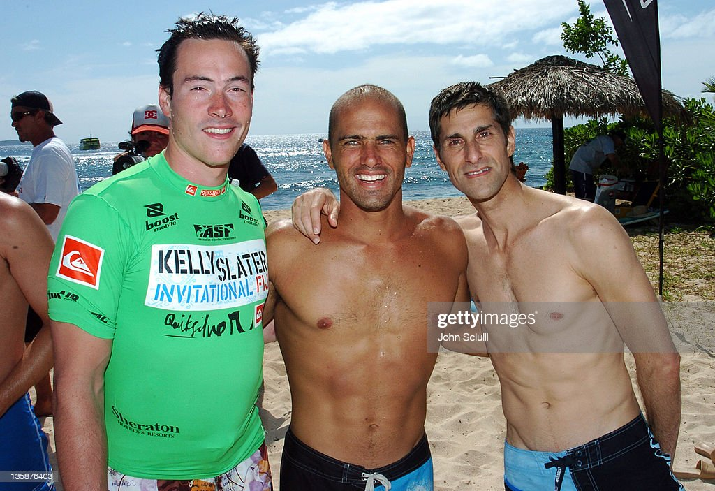 Chris Klein Kelly Slater and Perry Farrell during Kelly Slater Invitational Fiji Day 4 Celebrity ProAm Presented by Quiksilver at Restaurants in...