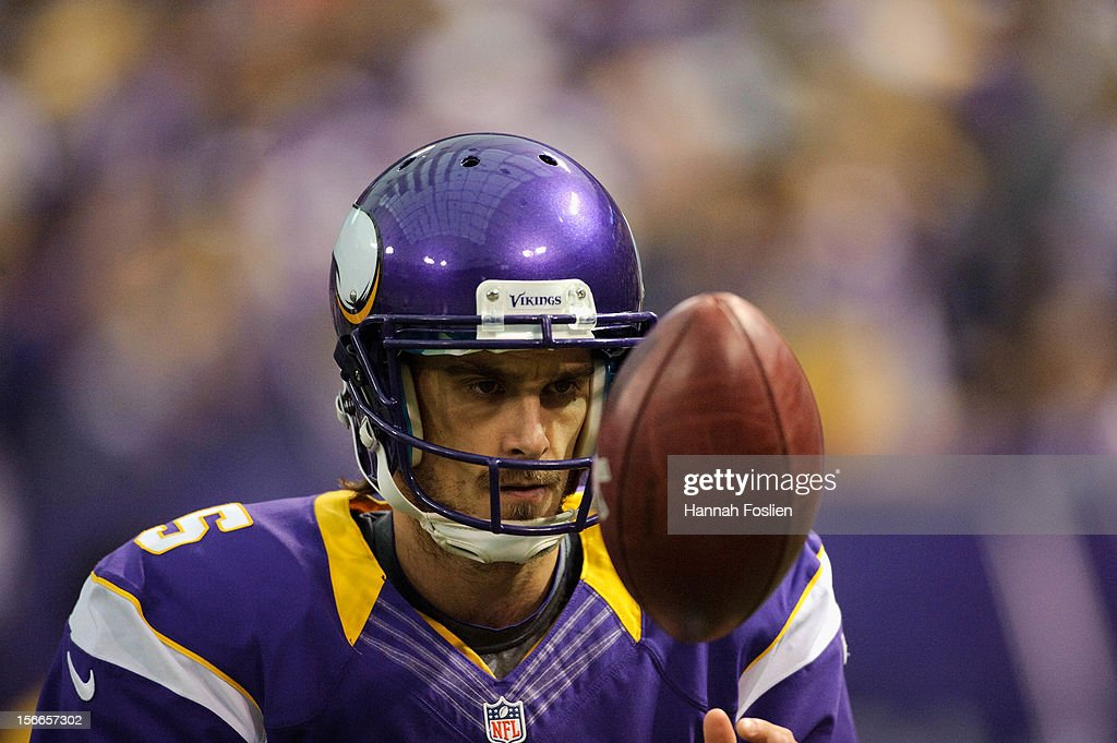 <a gi-track='captionPersonalityLinkClicked' href=/galleries/search?phrase=Chris+Kluwe&family=editorial&specificpeople=749151 ng-click='$event.stopPropagation()'>Chris Kluwe</a> #5 of the Minnesota Vikings looks on during the game against the Detroit Lions on November 11, 2012 at Mall of America Field at the Hubert H. Humphrey Metrodome in Minneapolis, Minnesota.