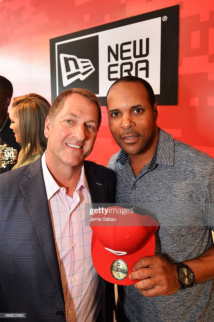 Chris Koch (L) owner of New Era, poses with <a gi-track='captionPersonalityLinkClicked' href=/galleries/search?phrase=Barry+Larkin&family=editorial&specificpeople=204522 ng-click='$event.stopPropagation()'>Barry Larkin</a> during the New Era & Corporate/BTS Presents 'REDStory' event on July 13, 2015 in Cincinnati, Ohio.