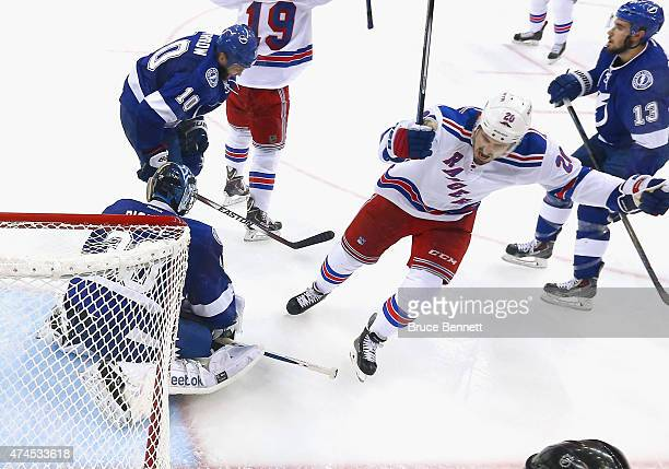 Chris Kreider of the New York Rangers celebrates his goal at 1516 of the second period against Ben Bishop of the Tampa Bay Lightning in Game Four of...