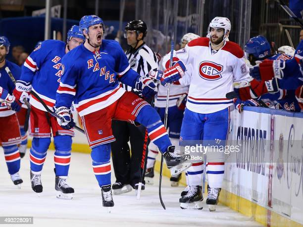 Chris Kreider of the New York Rangers celebrates his goal late in the third period against the Montreal Canadiens in Game Three of the Eastern...