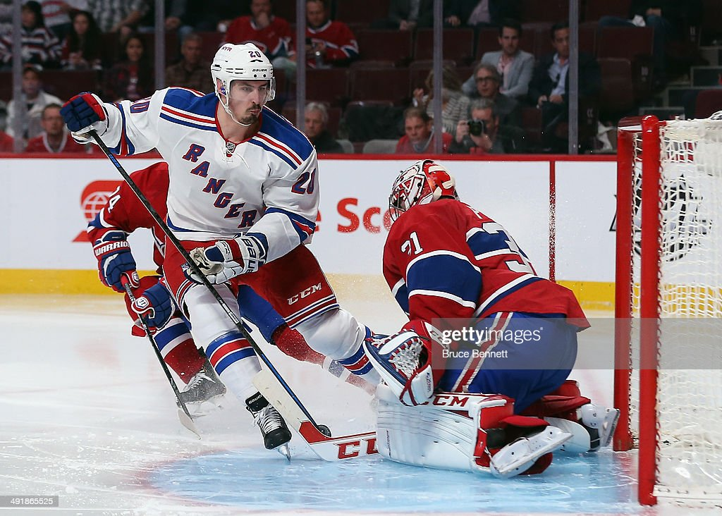 Chris Kreider #20 of the New York Rangers goes in on Carey Price #31 of the Montreal Canadiens in Game One of the Eastern Conference Final during the 2014 Stanley Cup Playoffs at the Bell Centre on May 17, 2014 in Montreal, Canada. The Rangers defeated the Canadiens 7-2.