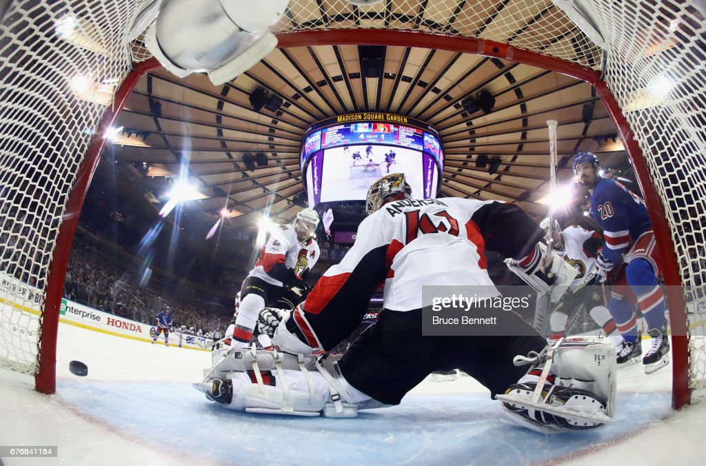 Chris Kreider #20 of the New York Rangers misses the net against Craig Anderson #41 of the Ottawa Senators in Game Three of the Eastern Conference Second Round during the 2017 NHL Stanley Cup Playoffs at Madison Square Garden on May 2, 2017 in New York City. The Rangers defeated the Senators 4-1.