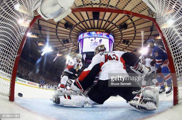 Chris Kreider of the New York Rangers misses the net against Craig Anderson of the Ottawa Senators in Game Three of the Eastern Conference Second...