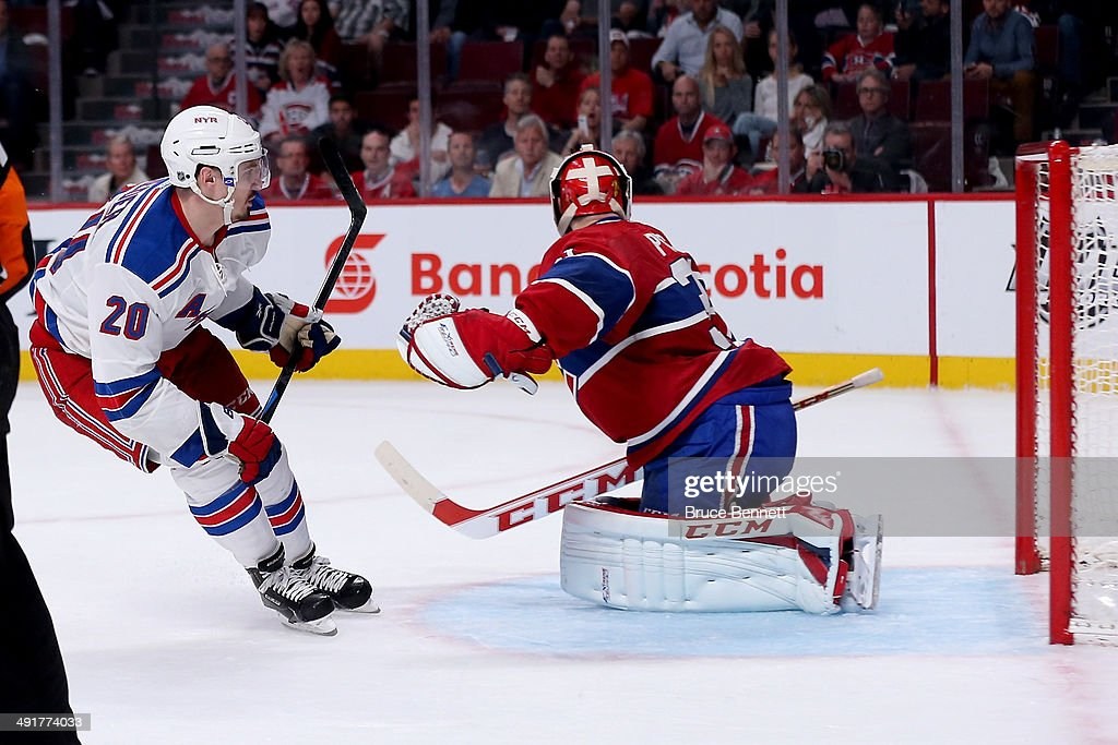 Chris Kreider #20 of the New York Rangers scores a second period goal against goaltender Carey Price #31 of the Montreal Canadiens in Game One of the Eastern Conference Finals of the 2014 NHL Stanley Cup Playoffs at the Bell Centre on May 17, 2014 in Montreal, Canada.