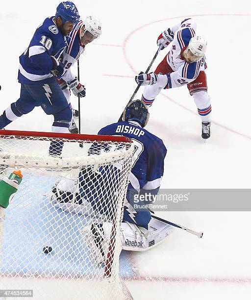 Chris Kreider of the New York Rangers scores at 1516 of the second period against Ben Bishop of the Tampa Bay Lightning in Game Four of the Eastern...