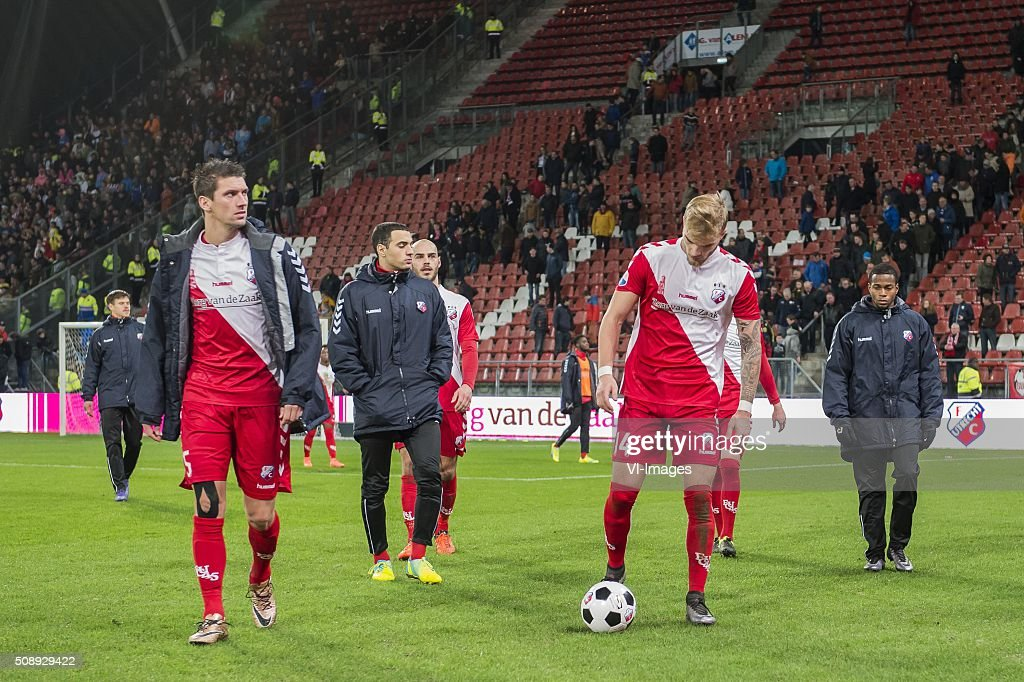 Chris Kum of FC Utrecht, Sofyan Amrabat of FC Utrecht, Ruud Boymans of FC Utrecht , Timo Letschert of FC Utrecht, Ruben Ligeon of FC Utrecht during the Dutch Eredivisie match between FC Utrecht and PSV Eindhoven at the Galgenwaard Stadium on February 07, 2016 in Utrecht, The Netherlands