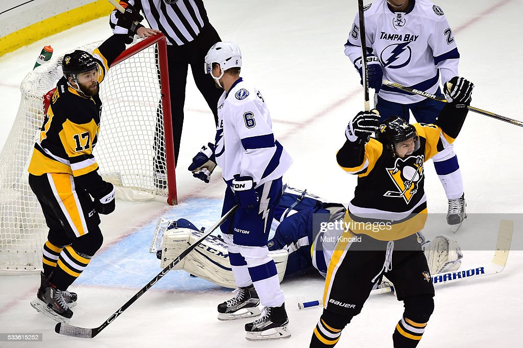 <a gi-track='captionPersonalityLinkClicked' href=/galleries/search?phrase=Chris+Kunitz&family=editorial&specificpeople=604159 ng-click='$event.stopPropagation()'>Chris Kunitz</a> #14 of the Pittsburgh Penguins celebrates after scoring a goal against Andrei Vasilevskiy #88 of the Tampa Bay Lightning during the second period in Game Five of the Eastern Conference Final during the 2016 NHL Stanley Cup Playoffs at Consol Energy Center on May 22, 2016 in Pittsburgh, Pennsylvania.