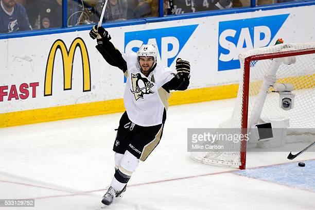 Chris Kunitz of the Pittsburgh Penguins celebrates after scoring the third goal against Andrei Vasilevskiy of the Tampa Bay Lightning during the...