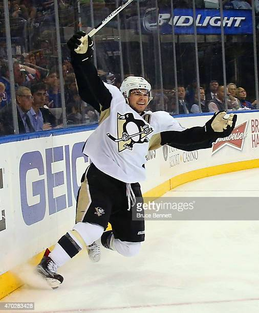 Chris Kunitz of the Pittsburgh Penguins celebrates his power play goal at 941 of the third period against the New York Rangers in Game One of the...