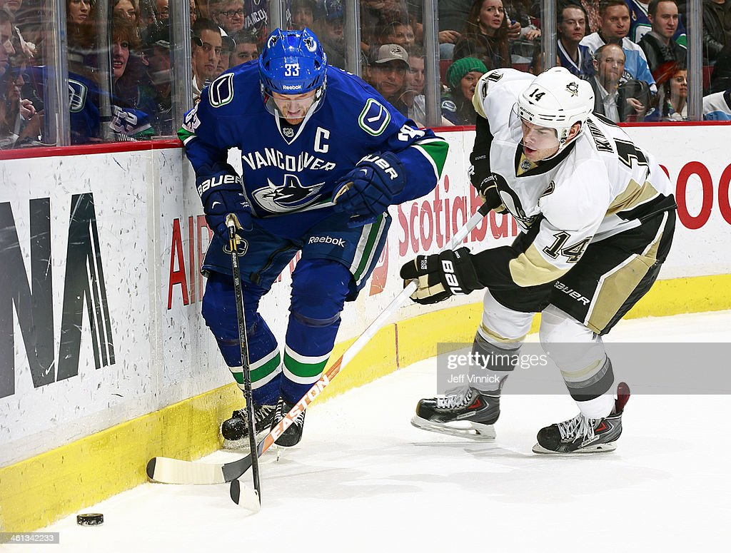<a gi-track='captionPersonalityLinkClicked' href=/galleries/search?phrase=Chris+Kunitz&family=editorial&specificpeople=604159 ng-click='$event.stopPropagation()'>Chris Kunitz</a> #14 of the Pittsburgh Penguins checks <a gi-track='captionPersonalityLinkClicked' href=/galleries/search?phrase=Henrik+Sedin&family=editorial&specificpeople=202574 ng-click='$event.stopPropagation()'>Henrik Sedin</a> #33 of the Vancouver Canucks during their NHL game at Rogers Arena January 7, 2014 in Vancouver, British Columbia, Canada. Pittsburgh won 5-4.
