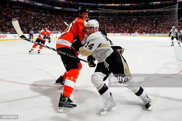 Chris Kunitz of the Pittsburgh Penguins skates past Chris Pronger of the Philadelphia Flyers on December 17 2009 at Wachovia Center in Philadelphia...