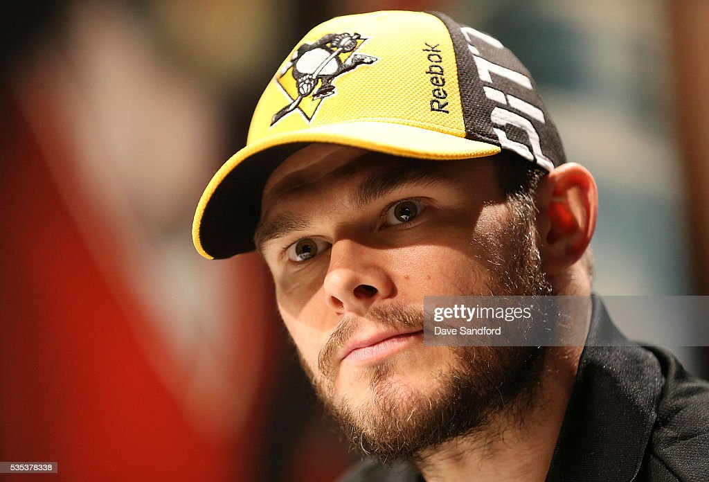 Chris Kunitz #14 of the Pittsburgh Penguins speaks during Media Day prior to the 2016 NHL Stanley Cup Final between the Pittsburgh Penguins and San Jose Sharks May 29, 2016 at Consol Energy Center in Pittsburgh, Pennsylvania, United States.
