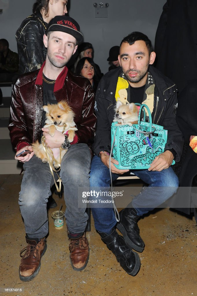 Chris Kutlesa and <a gi-track='captionPersonalityLinkClicked' href=/galleries/search?phrase=Nicola+Formichetti&family=editorial&specificpeople=7376980 ng-click='$event.stopPropagation()'>Nicola Formichetti</a> attend Hood by Air during Fall 2013 MADE Fashion Week on February 10, 2013 in New York City.