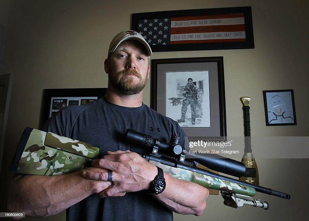 <a gi-track='captionPersonalityLinkClicked' href=/galleries/search?phrase=Chris+Kyle&family=editorial&specificpeople=2349756 ng-click='$event.stopPropagation()'>Chris Kyle</a>, a retired Navy SEAL and bestselling author of the book 'American Sniper: The Autobiography of the Most Lethal Sniper in U.S. Military History', holds a .308 sniper rifle in this April 6, 2012, file photo. Kyle was one of two people reported killed on the gun range at Rough Creek Lodge near Glen Rose, Texas, Saturday, February 2 2013.