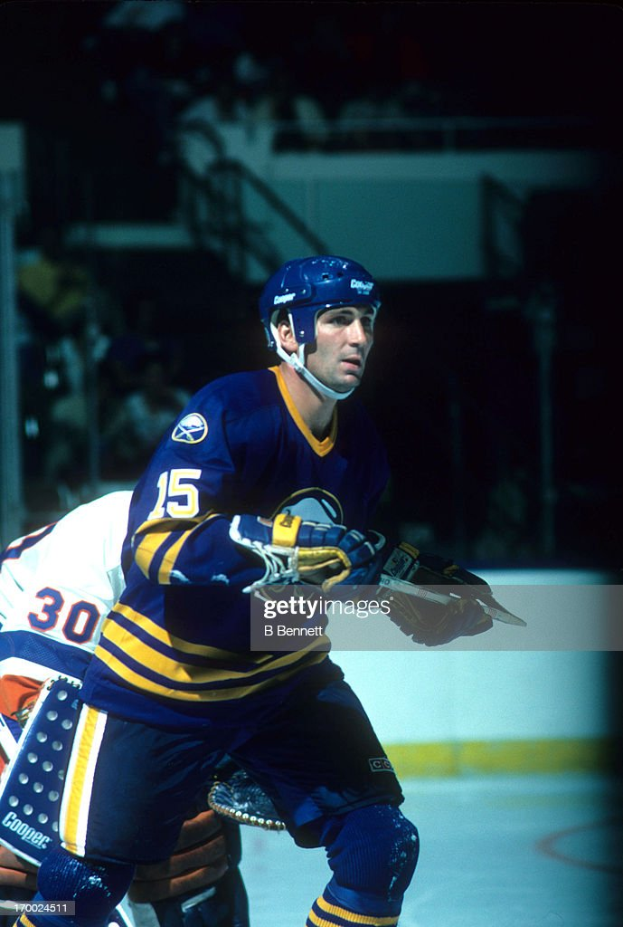 Chris Langevin of the Buffalo Sabres skates on the ice during an NHL preseason game against the New York Islanders in October 1985 at the Nassau...