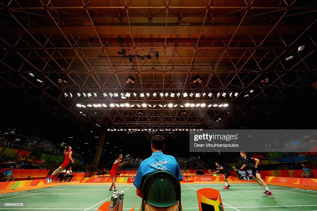 Chris Langridge and Marcus Ellis of Great Britain or Team GB (R) compete against Mathias Boe and Carsten Mogensen of Denmark in the badminton Mens Doubles on Day 6 of the 2016 Rio Olympics at Riocentro - Pavilion 4 on August 12, 2016 in Rio de Janeiro, Brazil.