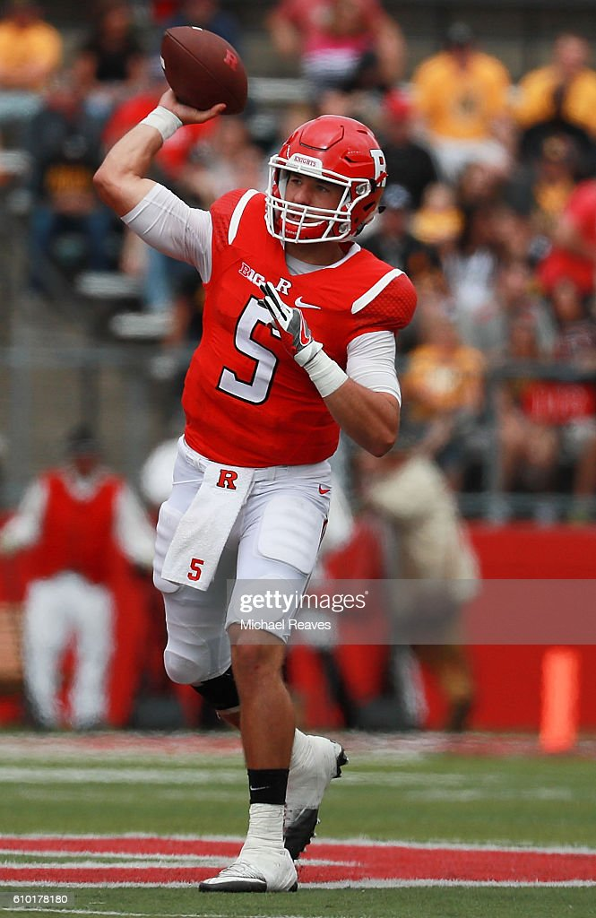 Chris Laviano #5 of the Rutgers Scarlet Knights throws a pass against the Iowa Hawkeyes at High Point Solutions Stadium on September 24, 2016 in Piscataway, New Jersey.